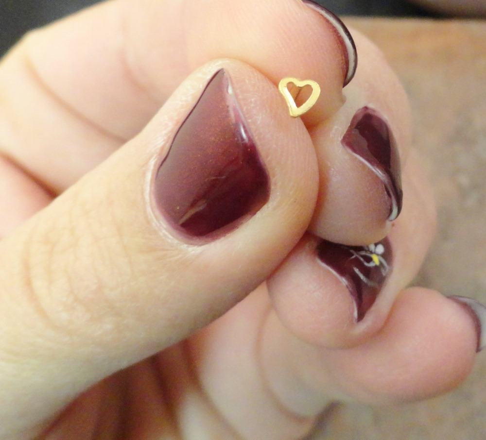 36pcs/set Straight post 925 Sterling silver Heart Nose stud Gold ...