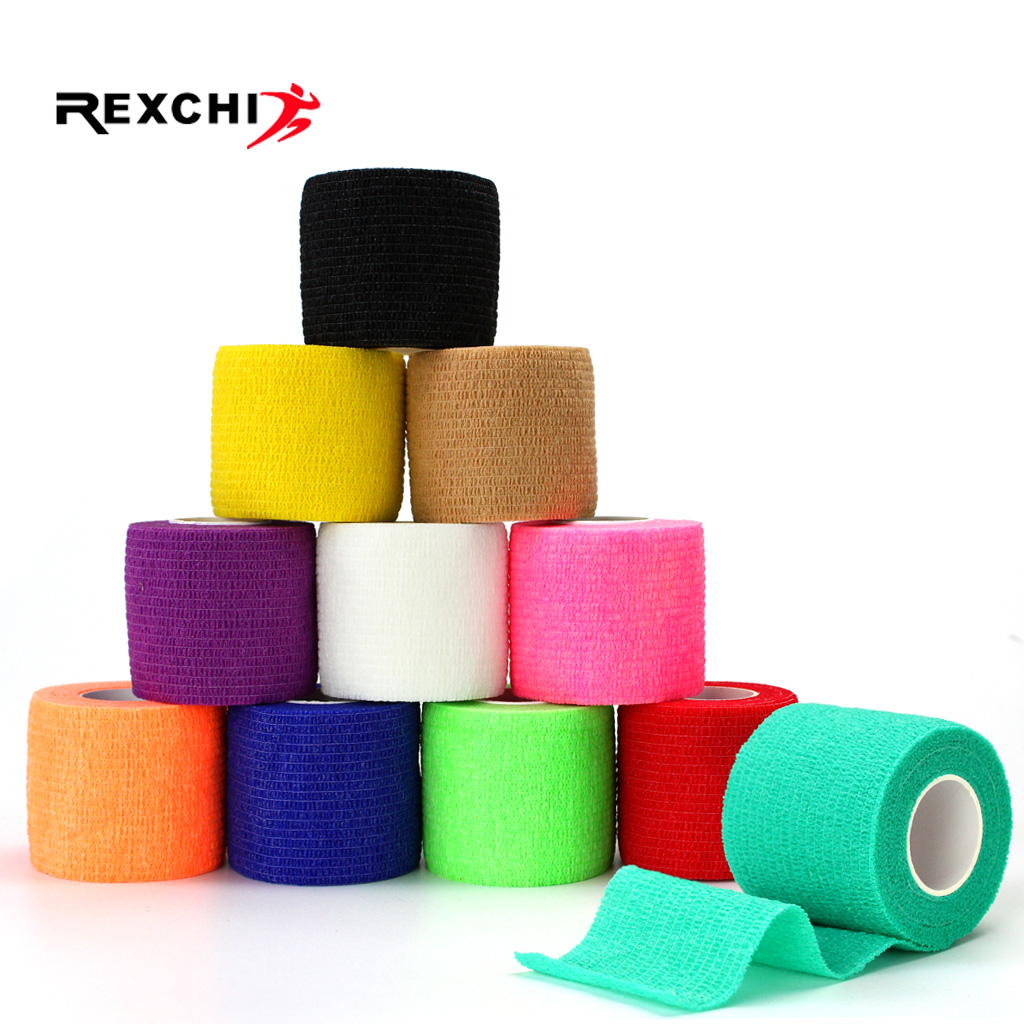 REXCHI 5CM*450CM Self Adhesive Elastic Bandage Non-woven Fabric Kinesiology Tape Protective Gear Knee Elbow Support Injury Pad(China)