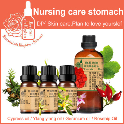 ФОТО 100% pure plant essential oil cypress / Ylang / geranium / rosehip oil convergence pores Improve red blood Nursing care stomach