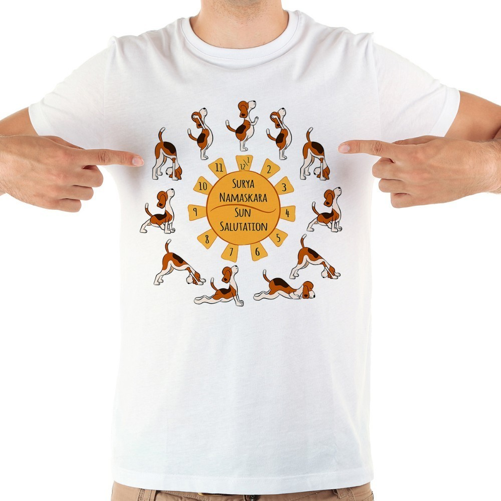 Cartoon Yoga Beagle Dog Funny T Shirt Men 2018 Summer New White Casual Short Sleeve Homme Cool Tshirt