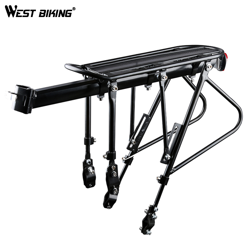 WEST BIKING Bike Carrier Rack Bike Luggage Stand Aluminum Alloy + Steel Cycling Cargo Racks 140 KG Load-bearing Bicycle Racks 2018 bike luggage cargo rear rack can be acted as power bank useful bicycle rear carrier racks new bicycle accessories