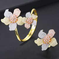Missvikki Design Luxus Einstellbar Openning Armreif Ring Set Blühende Blume Edle Symbol Für Frauen Mädchen Partei Schmuck