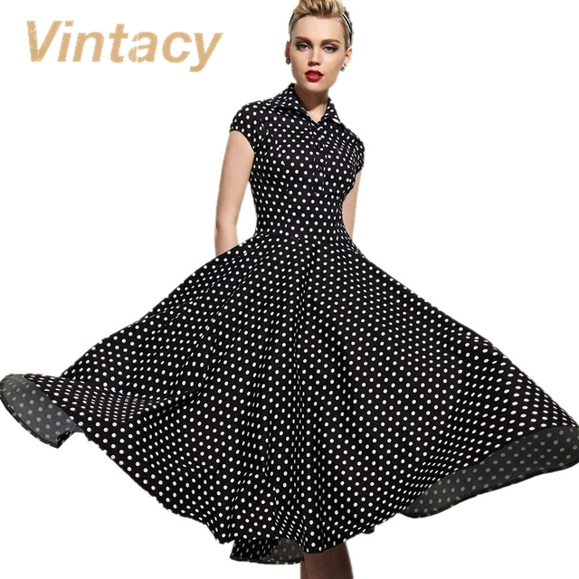 Vintacy vintage dress women dress blanco negro lunares rojo otoño party dress del vestido de bola delgado 1950 s dress vintage rockabilly