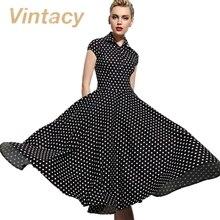 Vintacy vintage dress black polka dots women dress white red autumn party dress ball gown slim 1950s dress vintage rockabilly