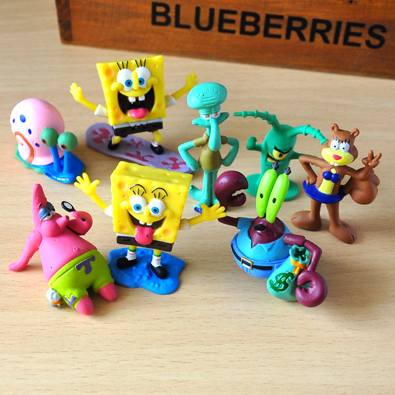 8pcs/set Spongebob Figures Toys Doll Patrick Star Action