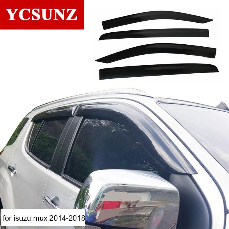 Black Window Deflector Rain Guard Window Visor Weather Shield For Isuzu Mux 2014 2019 Car Accessories