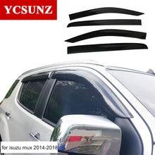 2017 window visor For Isuzu mux 2016 Accessories black window deflector Rain Guard For Isuzu mux 2014 2015 Exterior parts Ycsunz