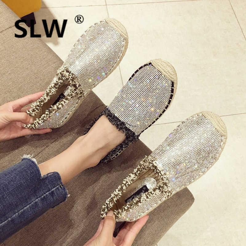 Lace-Up Canvas Rubber Sequined Cloth spring women flat new Round Toe Fabric Basic summer Slip-On Crystal Bling Casual canvas