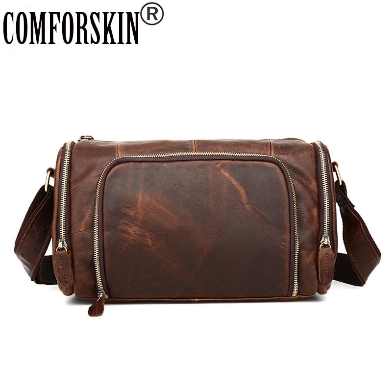 COMFORSKIN Brand Barrel-shaped Messenger Bags Design Premium Crazy Horse Leather Fashion Round Men Shoulder Bags Single Strap