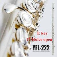 Япония C мелодия YFL 222 флейта мельхиоровая отделка Посеребренная флейта 17 отверстий открытым с E ключ для студентов музыкальный инструмент