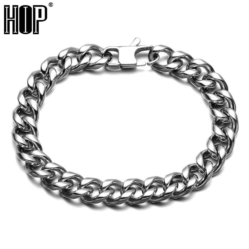 HIP Hop Rock Chain & Link Cuban Bracelets Biker <font><b>Silver</b></font> Color Titanium Steel <font><b>Jeans</b></font> Buckle Curb Bracelet Bangles For Men Jewelry