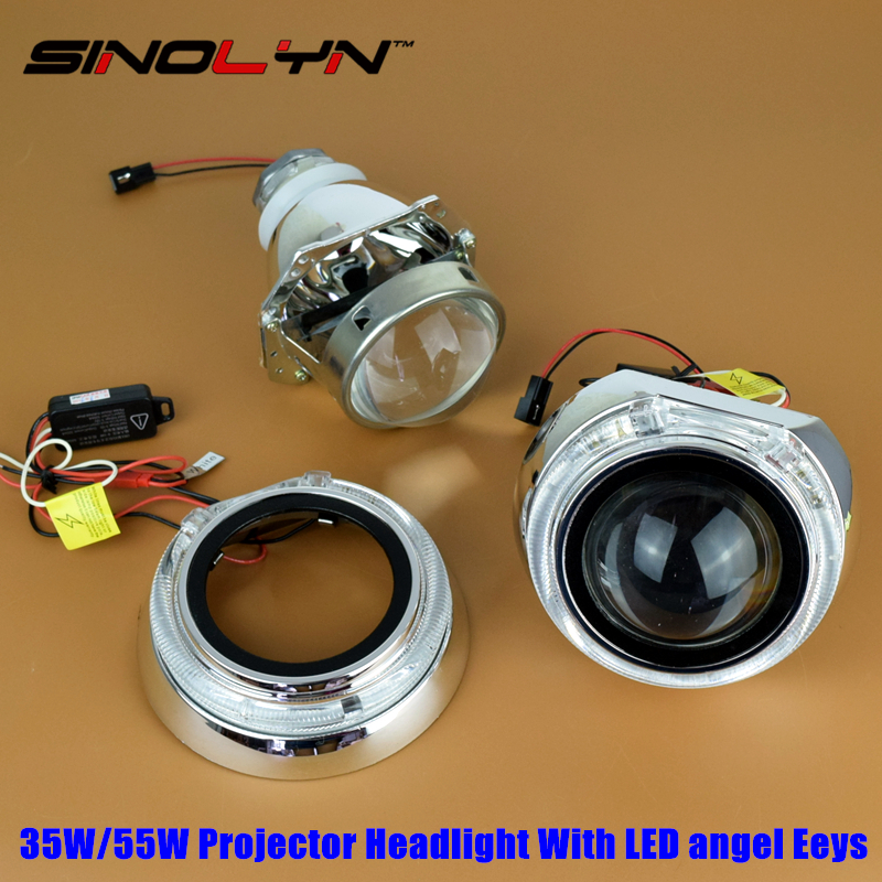 Sinolyn 3.0 inches LED Angel Eyes Halo DRL HID Bi-xenon Lens Projector Headlight Retrofit 35W 55W H4, Use D2S D2H Bulbs