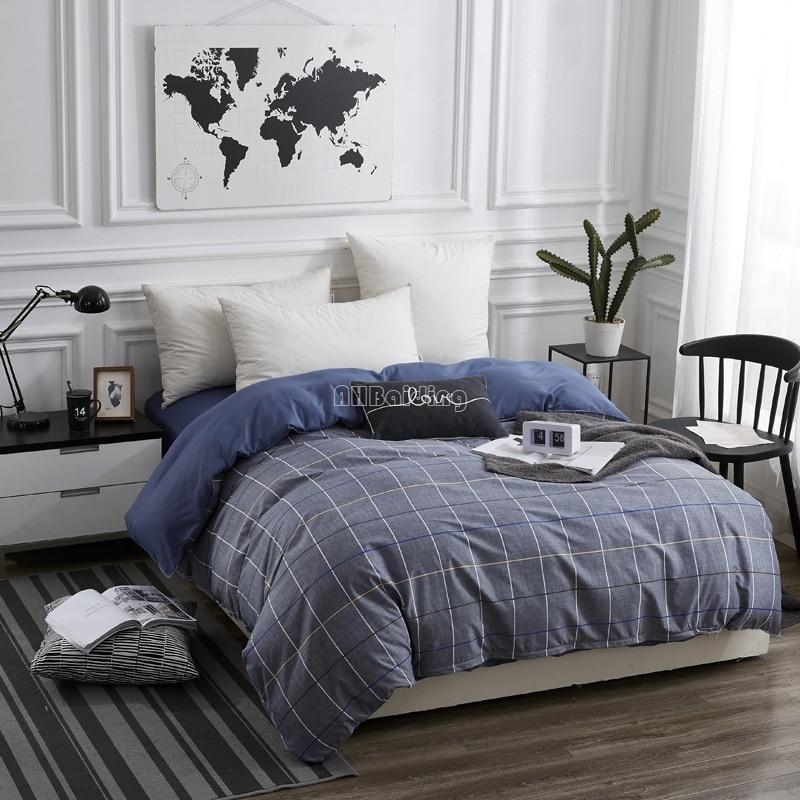 Fashion Blue Plaid Striped Duvet Cover With Zipper 150*200cm,180*220cm,200*230cm,220*240cm Quilt Cover Comforter/Blanket Case