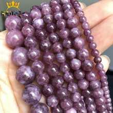 Perles rondes en pierre naturelle de lépidolite, en vrac, pour fabrication de bijoux, bracelet, collier, 4/6/8/10/12 mm, 15