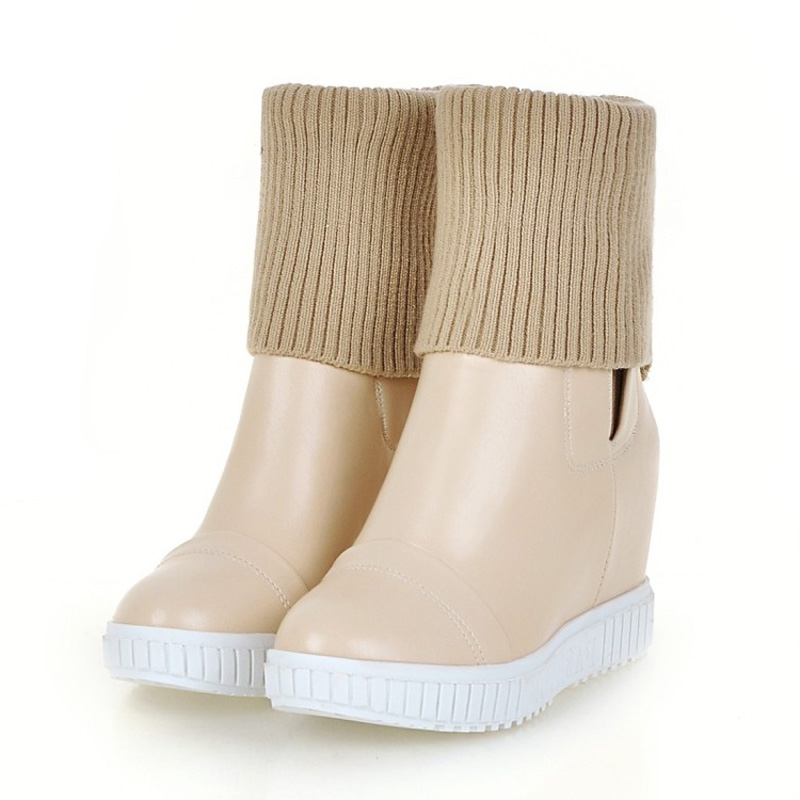 ФОТО Woman Riding Boots Soild Flat With Thick Bottom Ankle Boots For Women Slip On Height Increasing Autumn Winter Wedges Shoes Woman
