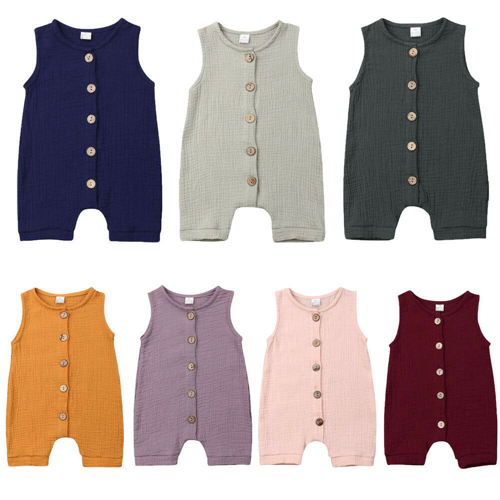 Infant Baby Boys Girls Cotton Linen   Romper   Buttons Sleeveless Jumpsuit Summer Clothes Outfit
