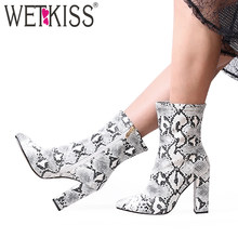 WETKISS Snake Skin Pu Boots Women Sexy Mid-Calf Boot Winter High Heels Shoe Female Pointed Toe Shoes Ladies Party Shoes 2020 New(China)