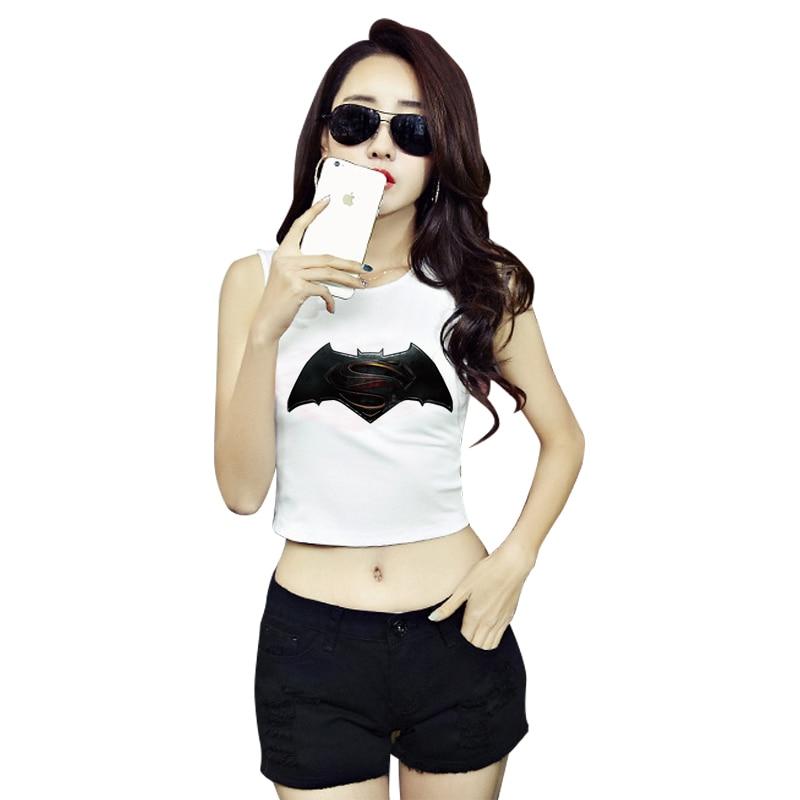 ff36f5923 F1810 Summer Style Women Cool Tees Sleeveless White Crop Top Batman VS  Superman Print Tank Tops-in Tank Tops from Women's Clothing on  Aliexpress.com ...