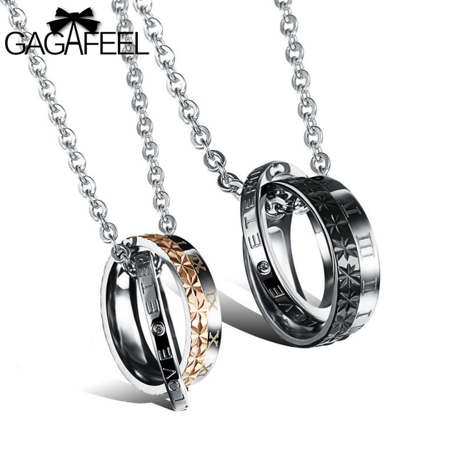 07ff42a16d GAGAFEEL Round Pendant Couple Necklace For Women Men Fashion Jewelry Love  Necklace Titanium Stainless Steel Necklace Lover Gifts