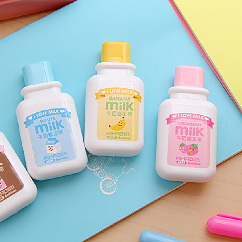 Creative Milk Bottle Correction Kawaii Tape Corrector School Office Supplies Students Stationery Correction Tapes For Exam