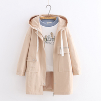Japanese solid color autumn Hooded trench coat Loose coat mori girl