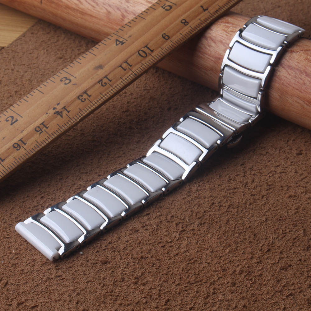 Watchbands new Hot sale Ceramic and Steel Watchband 20mm 22mm White/Silver Bracelet Butterfly Push-Button Clasp For Smartwatch
