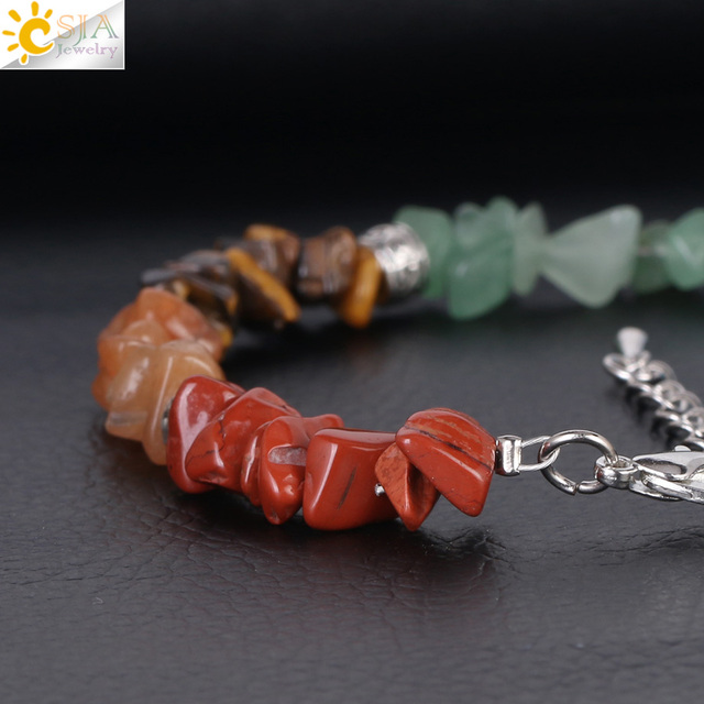 Купить женский браслет csja 7 chakra reiki цепочка с застежкой лобстером