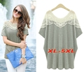 Plus Size XL-5XL Summer Style Casual T shirt Women Cotton Lace Hollow Out Patchwork Long T shirt Tops Short Sleeve Loose T6172