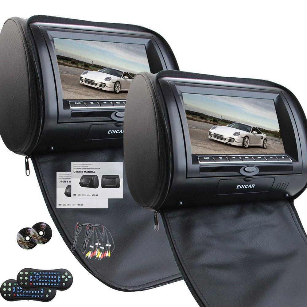 A Pair of Car Headrests 7 Inch Dual DVD Player for Car Support USB SD IR FM Transmitter  Car Monitor USB FM TV Game IR Remote buy monitor instead of tv