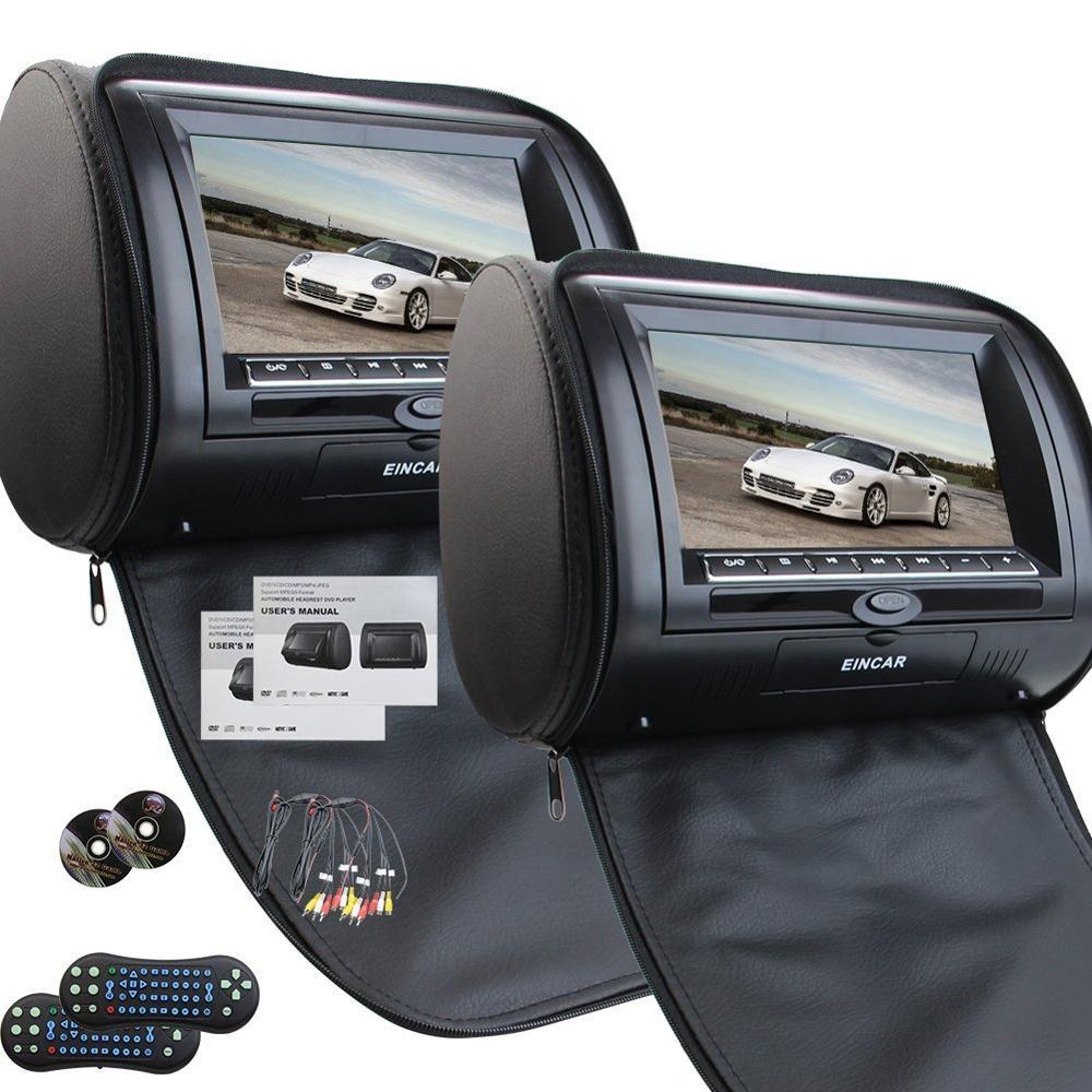 Une paire d'appuie-tête de voiture 7 pouces double lecteur DVD pour Support de voiture USB SD IR FM transmetteur moniteur de voiture USB FM TV jeu IR à distance