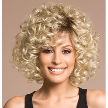 Sofeel sexy hairstyle synthetic hair kinky curly synthetic short ombre blonde wigs for white women free shipping