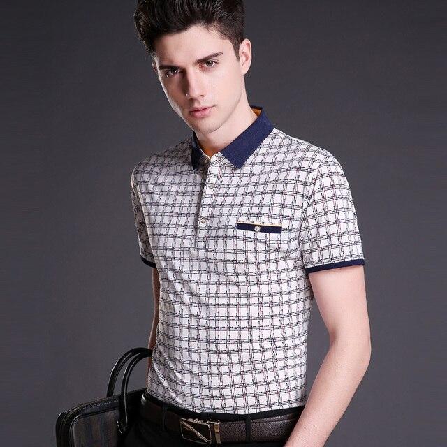 2016 Новый стиль лето парни top мода полосатый повседневная бизнес хлопка с коротким рукавом рубашки