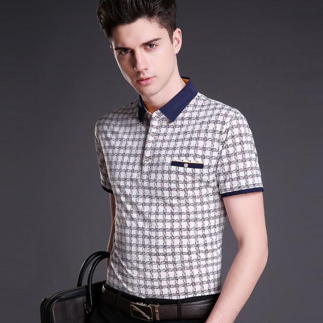 2016 El Más Nuevo estilo hombres más de moda de verano de rayas de algodón casual de negocios camisa de manga corta
