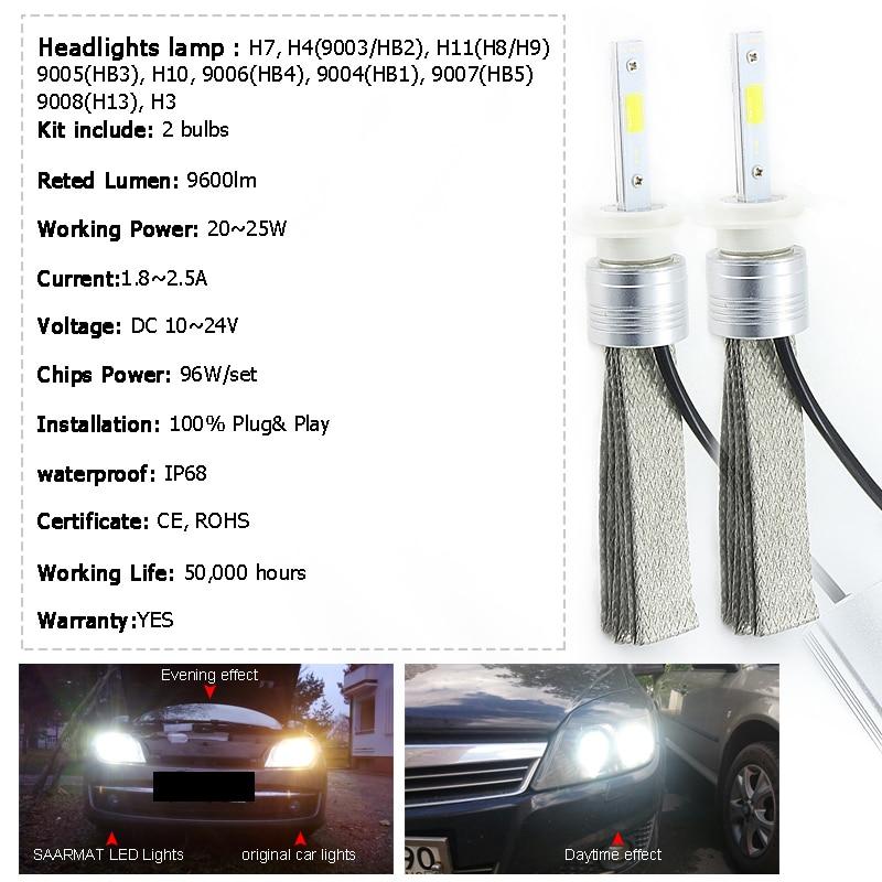 2х առաջատար մեքենա H1 H3 H4 HB2 9003 led H7 H8 H11 H9 - Ավտոմեքենայի լույսեր - Լուսանկար 2