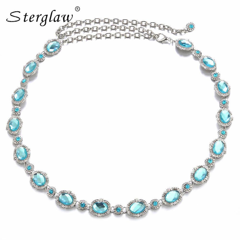 High Quality Lady Blue Rhinestone Gem Waist Chain Belt For Women's Crystal Slimming Belt Female Dresses Belts Ceinture F088