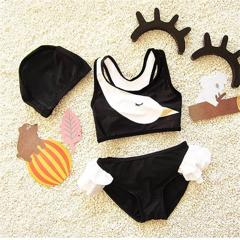 Popular Kids Swimsuit Girls Swimwear Teenagers Swimming Two-pieces Lovely Swan Bath Suit Infant Children Beachwear 2-10years