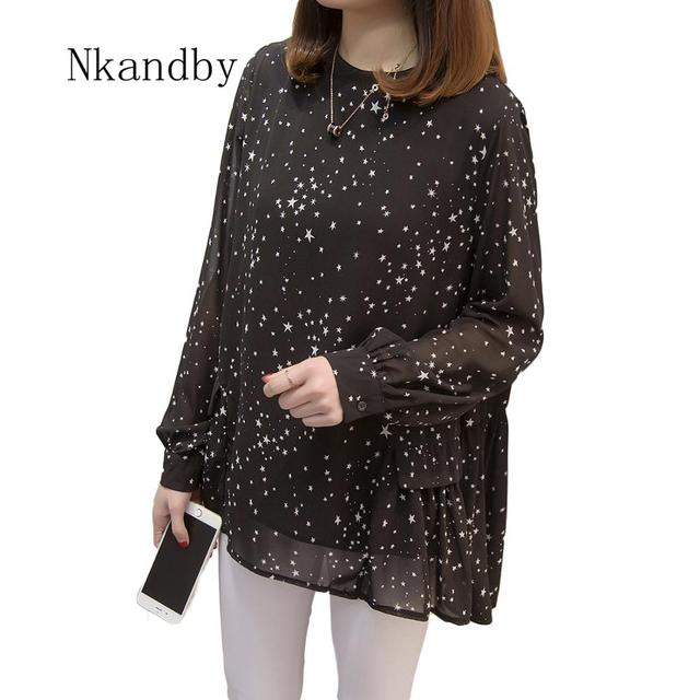 Plus size Women Tops and Blouses 2020 Spring Autumn Star Printing Chiffon Shirts oversize Loose Long sleeve Blusas Femininas 1