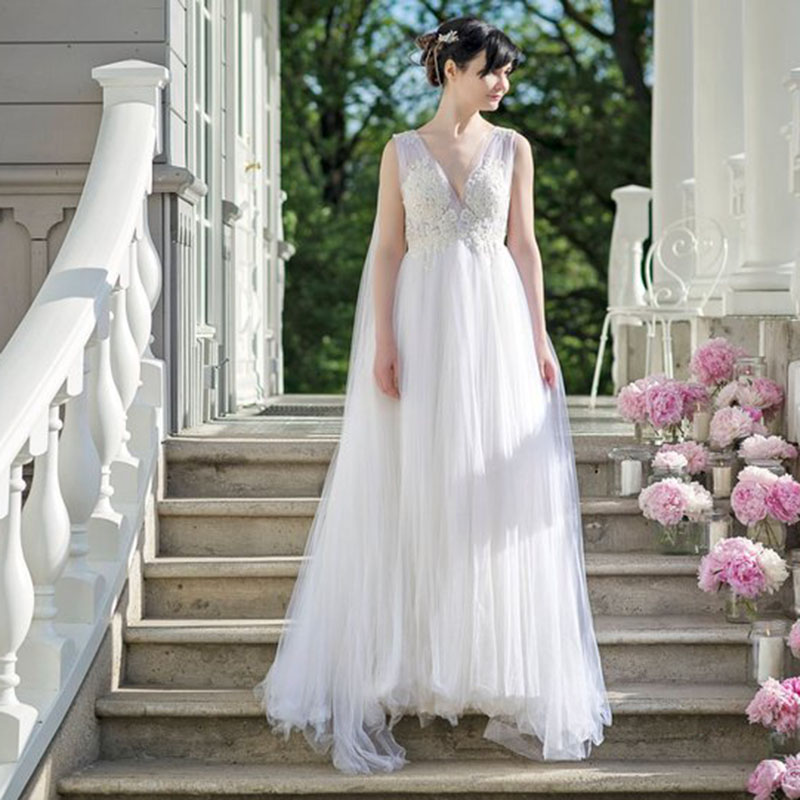 LORIE Princess Wedding Dresses V Neck A Line Appliques Tulle Long White Ivory Boho Wedding Gown Free Shipping Bride Dress 2019