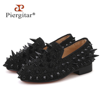 Piergitar 2018 new arrival Parent child design shoes Handmade children spikers loafers party and banquet kid's leather shoes