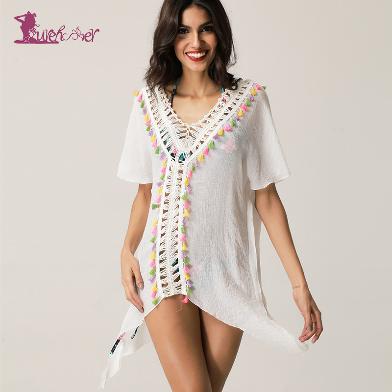 Lurehooker Sexy Bikini Swimsuit Beach Cover Crochet Dress Beach V-neck Bathing Suits Cover Tassel Robe Swimwear Solid Beachwear
