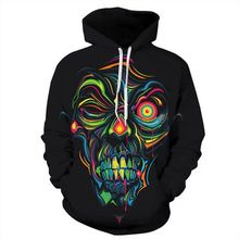 New Fashion 3d Hoodies Women/Men Sweatshirts Print Smile Skulls Thin Hooded Hoody Tops