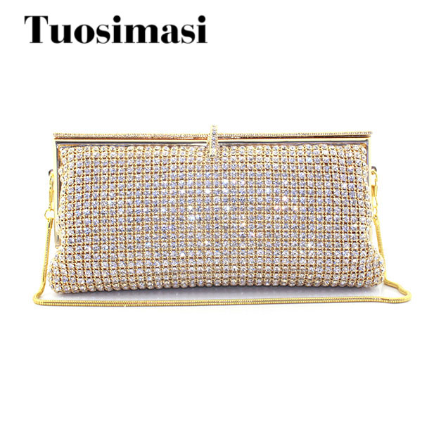 Gold Evening bags Womens Diamond Rhinestone Clutch Crystal Day Clutch Wallet Wedding Purse Party Shoulder Bags Banquet Wallet