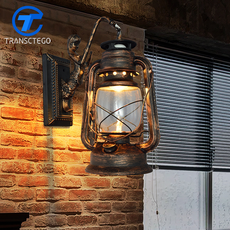 Wall lamp Vintage Antique Bar Cafe tea lights Sconces on the wall kerosene lantern aisle stairs loft lamp lampara pared murale|light sconce|wall lamp vintage|wall lamp - title=