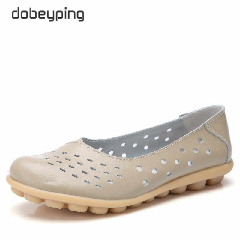 dobeyping Genuine Leather Women Flats New Cut-Outs Summer Shoes Woman Hollow Women's Loafers Female Solid Shoe Large Size 35-44