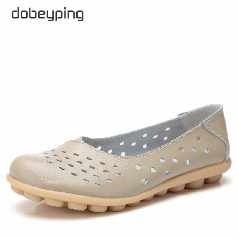 dobeyping Genuine Leather Women Flats New Cut-Outs Summer Shoes Woman Hollow Womens Loafers Female Solid Shoe Large Size 35-44
