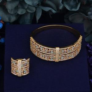 Image 3 - GODKI luksusowe duże delikatne luksusowe wielokolorowa cyrkonia sześcienna wesele saudyjskoarabski dubaj bransoletka zestaw pierścieni