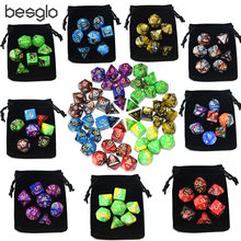 Double Color Polyhedral Plastic Dice with Drawstring Bag for Dungeons and Dragon RPG Board Games d4 d6 d8 d10 d12 d20 d%(China)