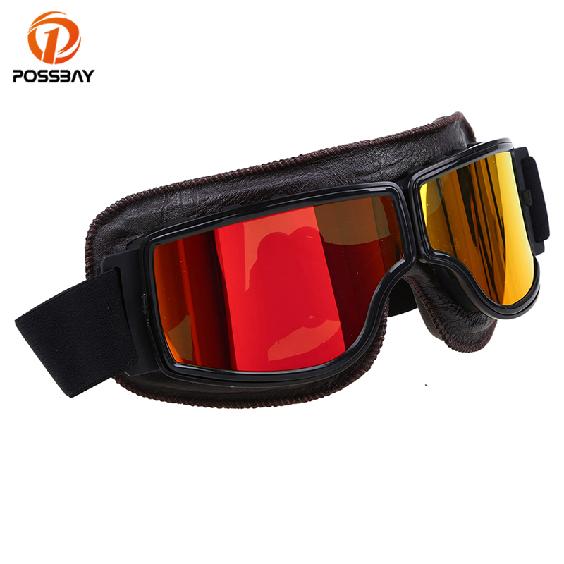 POSSBAY мотоциклетные очки спортивные очки шлем кожи человека Для женщин мотоцикл Лыжный Спорт Открытый спортивные очки ретро очки