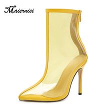 MAIERNISI Women RainBoots Transparent PVC Woman Shoes Solid Waterproof Boots Zipper High Heel
