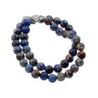 תכשיטי אופנה חמה למכירה סט עיצוב חדש לנשים עם mperial כחול חרוז שרשרת וצמיד סט jewelryas סטי תכשיטי כלה